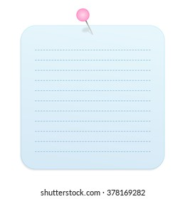 Blank Gradient Light Blue Rounded Square Paper Note with Dashed Lines Pinned to the Wall Isolated on White Background Illustration