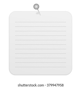 Blank Gradient Light Gray Rounded Square Paper Note with Dashed Lines Pinned to the Wall Isolated on White Background Illustration