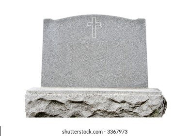 Blank granite headstone set against white background with clipping path