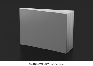 Blank gray horizontal soft cover book standing on black background. Isolated with clipping path around book. 3d illustration