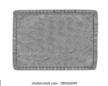 blank gray leather label isolated on white