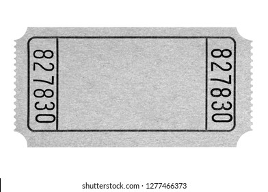Blank gray movie ticket isolated on white
