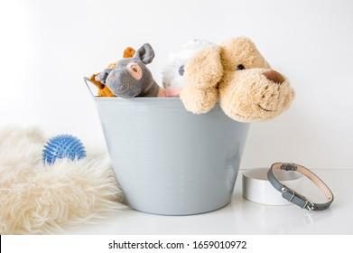 Blank gray plastic bin with stuffed animals on white background with pet toy and bowl, pet toy bucket label mockup