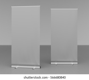 Blank gray roll up banner stands on gray floor. Include clipping paths around stand and ad banner. 3d render