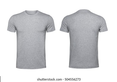 Blank gray t-shirt, front and back isolated on white background with clipping path