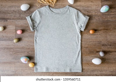 Blank gray unisex toddler t-shirt with easter eggs, easter apparel mock up