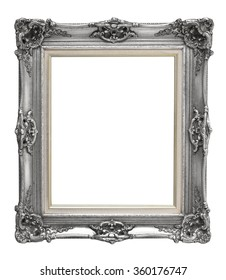 Blank gray vintage frame isolated on white background