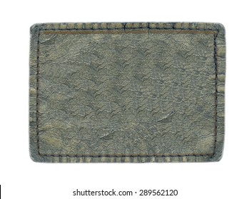 blank gray-blue leather label isolated on white