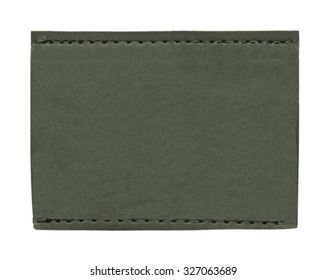 blank gray-green leather  label on white background