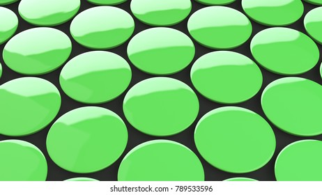 Blank green badge on black background. Pin button mockup. 3D rendering illustration