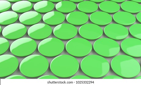 Blank green badge on white background. Pin button mockup. 3D rendering illustration