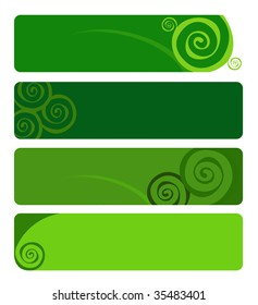 blank green banners with spiral designs