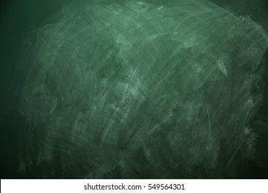 Blank green chalkboard with traces of erased chalk