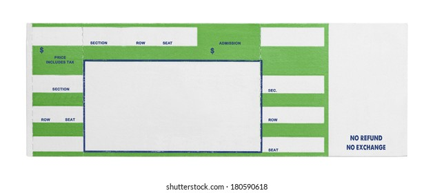 Blank Green Concert Performance Ticket Isolated on White Background.