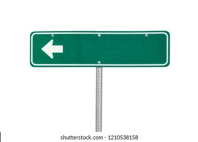 Blank green directional arrow sign isolated on white.