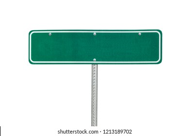 Blank green directional sign isolated on white.
