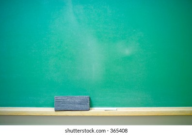A blank green horizontal chalkboard with chalk and eraser. 14MP camera.