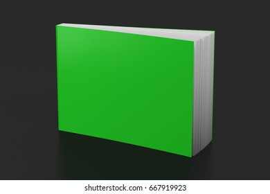 Blank green landscape soft cover standing on black background. Isolated with clipping path around book. 3d illustration