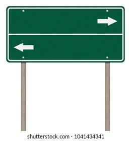 Blank green road sign or Empty traffic signs isolated on white background. Objects clipping path