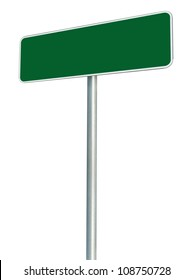 Blank Green Road Sign Isolated, Large White Frame Framed Roadside Signboard Perspective Empty Copy Space