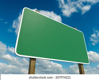 Blank Green Road Sign Isolated on a sky Background