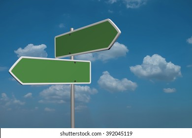Blank Green Road Sign on sky background.