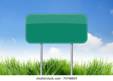 Blank Green Road Sign on sky