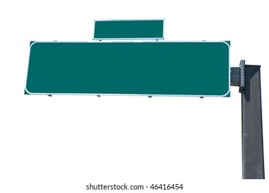 Blank green traffic billboard isolated on white background