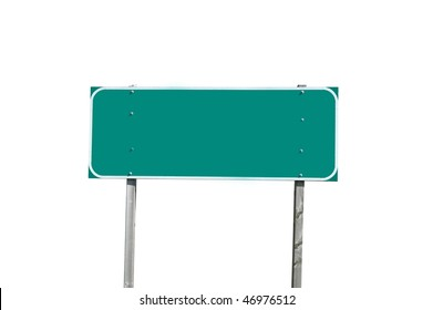 Blank green traffic sign isolated on white background