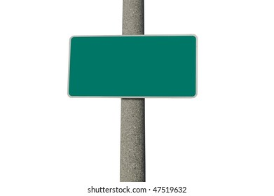 Blank green traffic sign on a concrete pole isolated on white background
