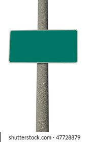 Blank green traffic sign on concrete electric pole