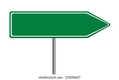 blank green traffic sign template on silver pole, white background