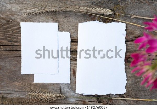 Blank Greeting Card Vintage Wood Background Stock Photo