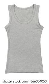 Blank grey vest shirt isolated white background
