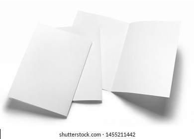 Blank half-folded booklet, postcard, flyer or brochure mockup template, isolated on white background