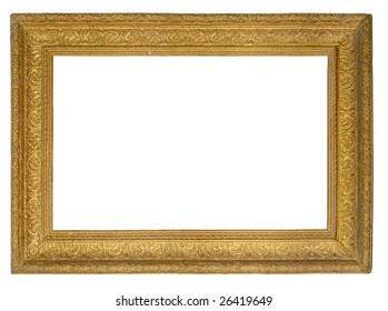 Blank handmade picture gold frame isolated over white background