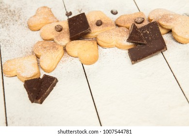 Blank, Happy Valentine's day, greeting card with cookies hearts, chokolates,  coffee Handmade background. Your text