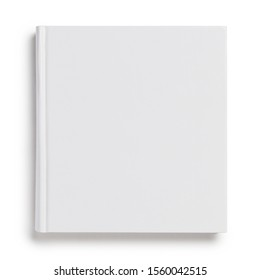 Blank hard cover square book, isolated on white background