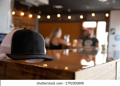 Blank Hat Template on Surface in Modern Interior