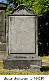 blank headstone in a cemetery
