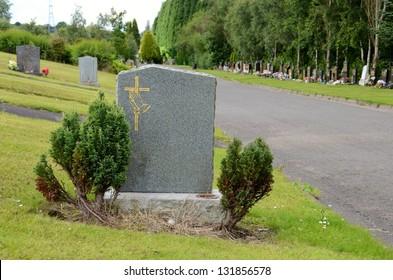 Blank headstone in a graveyard