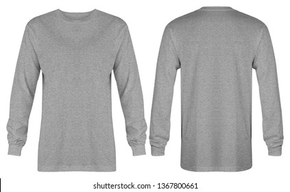 Blank heather grey t shirt long sleeve isolated on white background. ready for your mock up design or presentation your project