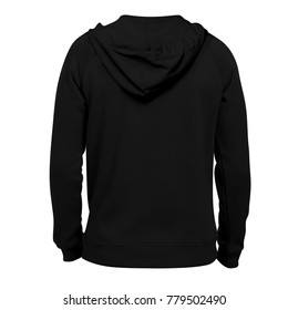 blank hoodie photo template back view black color for mockup