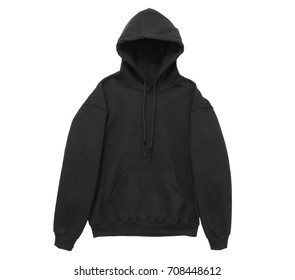blank hoodie sweatshirt color black front arm view on white background