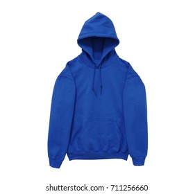 blank hoodie sweatshirt color blue front arm view on white background