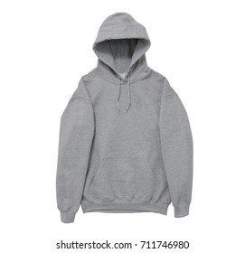 blank hoodie sweatshirt color grey front arm view on white background