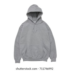 blank hoodie sweatshirt color grey front view on white background