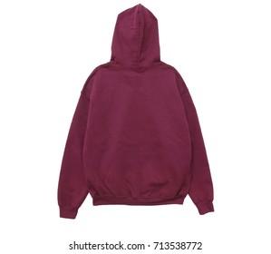 blank hoodie sweatshirt color maroon back view on white background