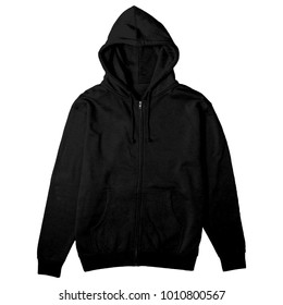 blank hoodie zipper front view black color for mockup template
