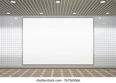 Blank horizontal advertisement poster in subway underground hall. 3d illustration